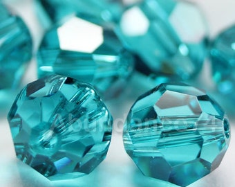 Swarovski Elements Crystal Beads 5000 Round Ball Beads BLUE ZIRCON - Available in 4mm ,6mm and 8mm