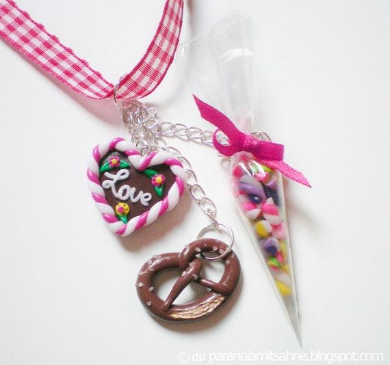 German Oktoberfest Necklace with Gingerbread Heart Pretzel