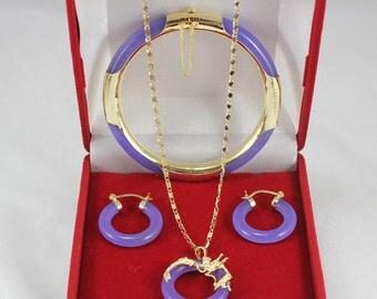 Free shipping -5 colors  green/ violet/ black/red jade bangle earrings & pendant set