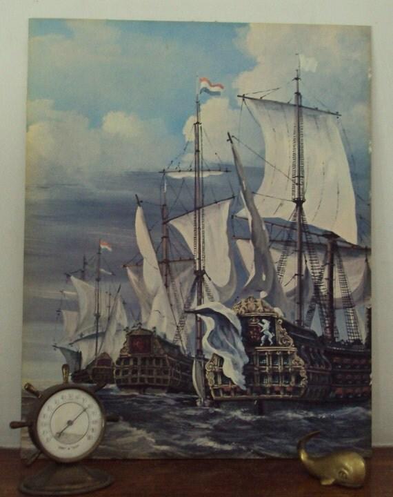 Come Sail Away//Mid-Century//Nautical//Vintage French Fleet Armada Ships Painting