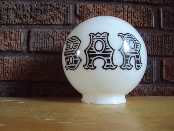 Vintage MILKGLASS BAR Replacement Round Globe Saloon Style Font Decoration