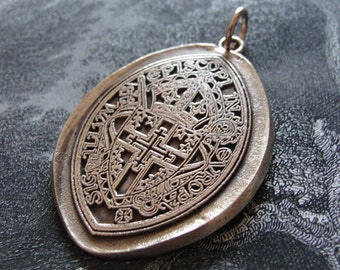 Spiritual Cross Wax Seal Pendant - Archbishop of Westminster England religious coat of arms in bronze by RQP Studio