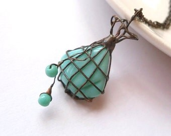 Wire pendant, contemporary jewelry, bohemian necklace, turquoise beaded, artistic jewelry, funky pendant, copper wire jewelry, Bead bag