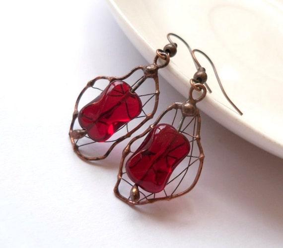 Copper wire earrings, bohemian jewelry, gift for women, contemporary earrrings, beaded red earrings, artistic funky jewelry, Cherry