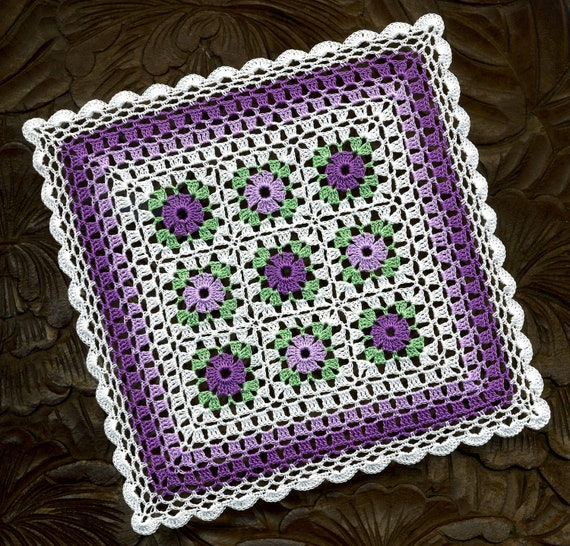 Dollhouse Miniature Afghan Bedspread Cover Throw Violet and Lavender