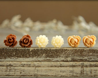 Flower Earring Studs Trio: Chocolate Rose, Ivory Daisy, Caramel Rose Bud