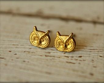 Owl Head Earring Studs in Raw Brass, Stainless Steel Posts