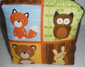 medium forest friends stuffed play cube with rattle