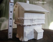 Two story Farm House, miniature, scene, Race track, Train Track, Christmas decoration, Village Scene, Ready to paint, Ceramic u-paint