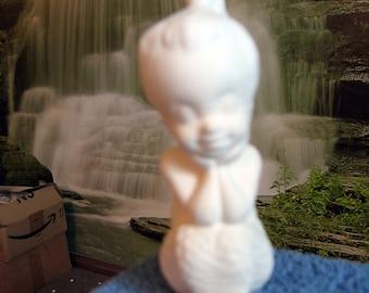 Sweet, Vintage, Mermaid, Fish girl, ceramic mermaid, Girl Mermaid, 4.5inches, ready to paint, u-paint,Ceramic Bisque