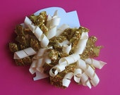 Hair Bow Set - Cream and Glitter Gold Korkers