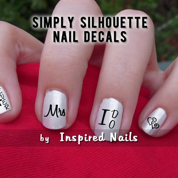 Wedding Day Decals Black and Clear Simply Silhouette by Inspired Nails