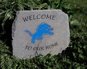 Welcome to our Home - Engraved Stone with Sports Team Logo