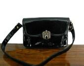 Vintage Black Purse Empress Patent Leather Bag w/ Red Vinyl Interior
