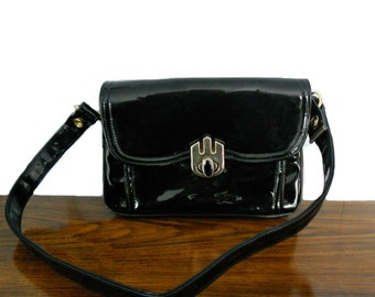 Vintage Black Purse Empress Patent Leather Bag w/ Red Vinyl Interior