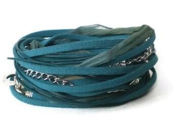 leather wrap bracelet, teal suede wrap bracelet, chiffon wrap, boho chic jewelry, rocker style bracelet, triple wrap bracelet, gift for her