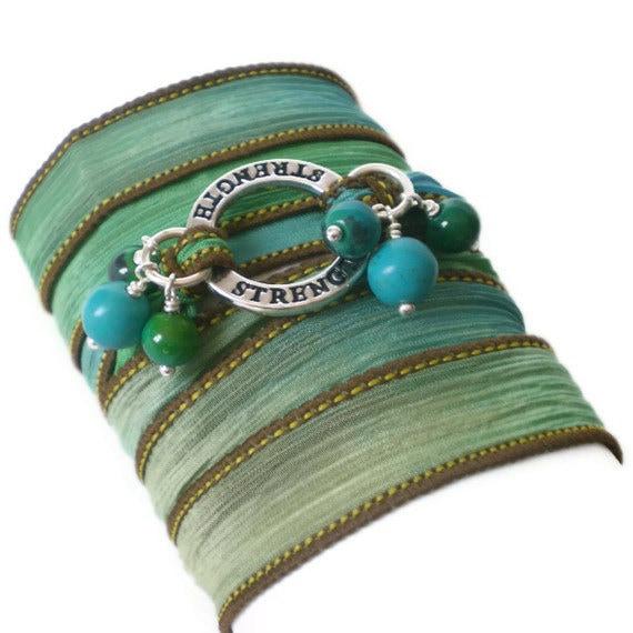 silk ribbon wrap bracelet, yoga inspired, turquoise beads, chrysocolla beads,silver affirmation ring, boho wrist wrap
