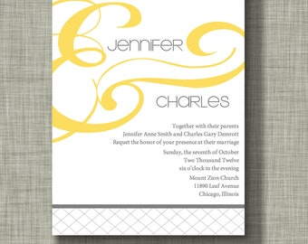 Yellow and Gray Wedding Invitation--Yellow and Gray Modern Argyle Ampersand Wedding Invitation Suite, Yellow and Gray Wedding