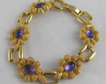 Vintage Purple Stone Bracelet in Bright Gold setting Flowers & Geometric Beehive Rope feminine funky fun cabochon