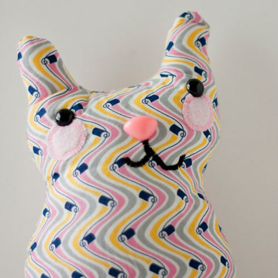 Ziggy - stuffed whimsy cat with wavy pattern and sweet smile