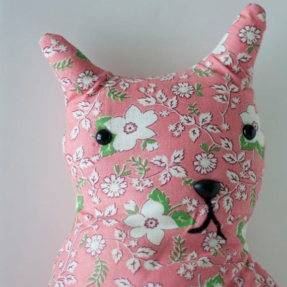 Penelope - Vintage Feedsack Whimsy Kitten Large Stuffed Cat or Accent Pillow