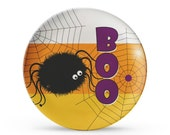Personalized Halloween Plate, Melamine Candy Corn Spider Dish