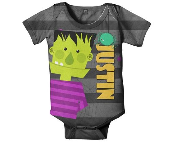 Halloween Baby Bodysuit, Personalized Frankenstein One-Piece Costume