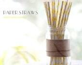 25 Sunshine Yellow Polka Dots Paper Straws -   Standard 7.75'' / 19.68cm
