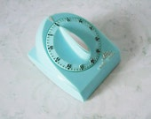 Turquoise Lux Kitchen Timer - Vintage Kitchen Timer - Turquoise Blue Kitchen Timer