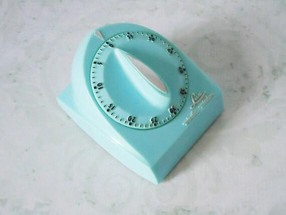 Turquoise Lux Kitchen Timer - Vintage Kitchen Timer - Turquoise Blue Kitchen Timer