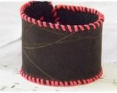 Black Leather Cuff Bracelet,  Cyber Goth Cuff, Neon Industrial Wristband, Punk Leather Cuff
