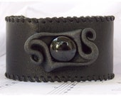 Gothic Black Leather Cuff Bracelet Inspired By Drizzt Do'Urden Tales
