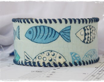 Leather Cuff Bracelet, Nautical Leather Wristband, Blue Fish Bracelet, Navy Blue Cuff, Funky Fish Bracelet, Kawaii Bracelet, Decoupage Cuff
