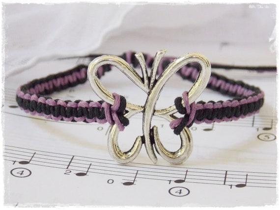 Friendship Bracelet, Purple Macrame Bracelet, Butterfly Square-Knot Bracelet, Best Friends Bracelet, Girls Bracelet, BFF Butterfly Bracelet