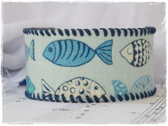Leather Cuff Bracelet, Nautical Leather Wristband, Blue Fish Bracelet, Navy Blue Cuff, Funky Fish Bracelet, Kawaii Bracelet, Decoupage Cuff