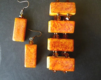 Perfect Pumpkin Domino Bracelet and Earring Set    Halloween Jewelry   Upcycled Dominos Domino Jewelry T1303