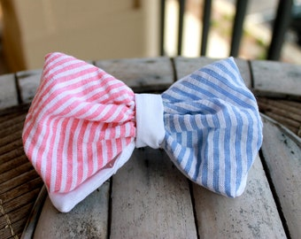 Seersucker All American Bow Tie Style Hair Barrette