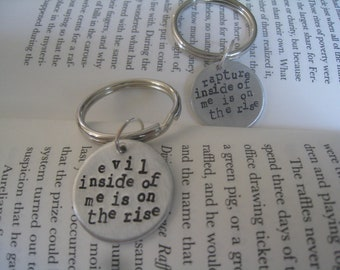 "Dr. Horrible ""Evil Inside Of Me"" and ""Rapture Inside of Me Is On The Rise"" 2 Keychain Set, His & Hers, Sing-a-Long Blog, Hand Stamped Silver"