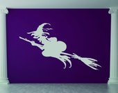 Wicked Witch, Halloween, Flying, Broom - Decal, Sticker, Vinyl, Wall, Home, Holiday, Office, Dorm Decor