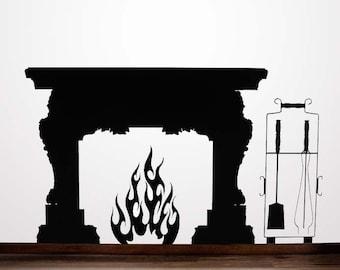 Fireplace Mantel, Vinyl Decal, Fireplace Mantle, Fireplace Mantel Decor Flames, Mid Century Fireplace, Sticker, Wall Art, Home Decor, Winter