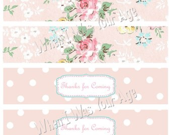Vintage Party Printable Water Personalized Bottle Labels
