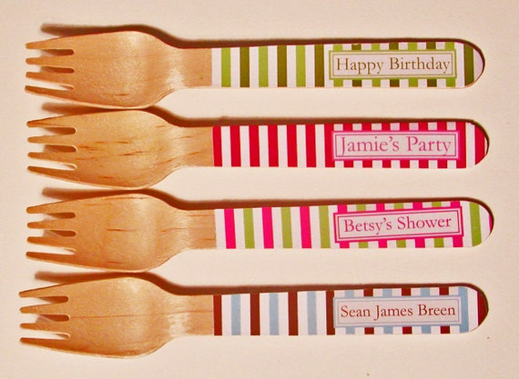 Striped Personalized Wooden Forks or Spoons - Set of 20
