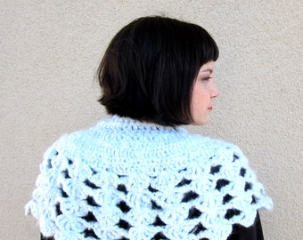 crochet capelet ice queen powder blue winter accessory lace