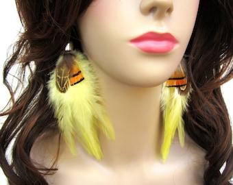 Long Feather Earrings Monarch Butterfly Wings Boho Womens Halloween Costume