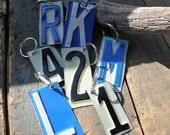 Rustic Junk Vintage License Plate Keychain