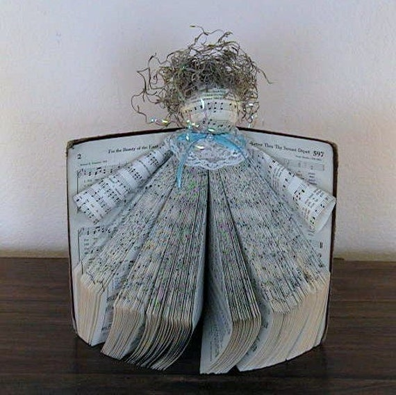 Vintage ORIGAMI Christmas Angel - Handcrafted using an Old Hymnbook