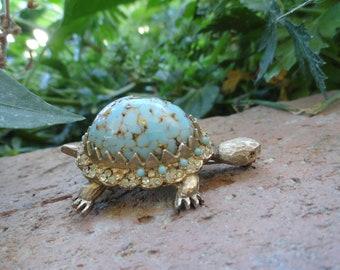 Rare Vintage Glass Turtle Har Brooch