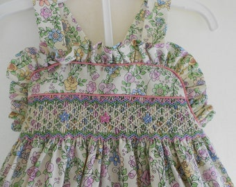 Hand Smocked Sundress with bloomers Size 12 months