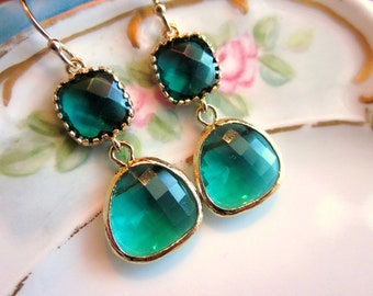 Emerald Green Earrings Gold Two Tier - Bridesmaid Earrings - Wedding Earrings - Valentines Day Gift