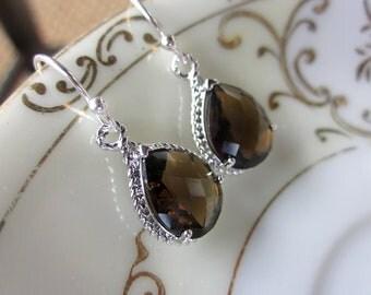 Smoky Brown Earrings Silver Teardrop Bridesmaid Earrings - Bridal Earrings - Wedding Earrings - Valentines Day Gift